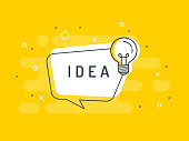 Quick Tips badge with light bulb and speech bubble. Trendy flat vector on yellow background. Vector Illustration.