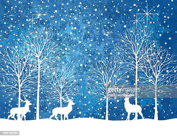quiet winter night snowy landscape with trees and deer - blizzard stock illustrations, clip art, cartoons, & icons