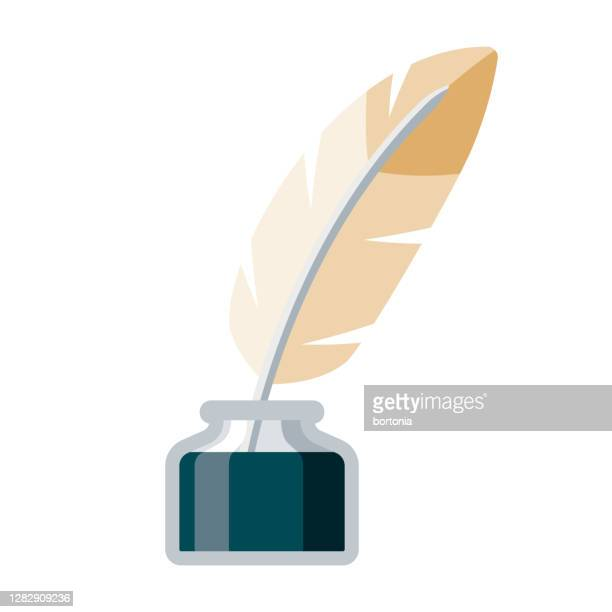 quill and ink icon on transparent background - poetry literature stock illustrations
