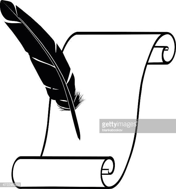 quill and paper - quill pen stock illustrations