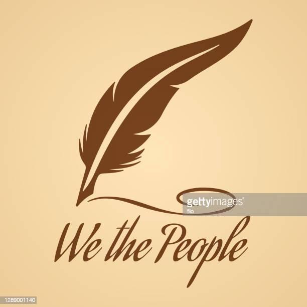 quill pen script writing - activist icon stock illustrations