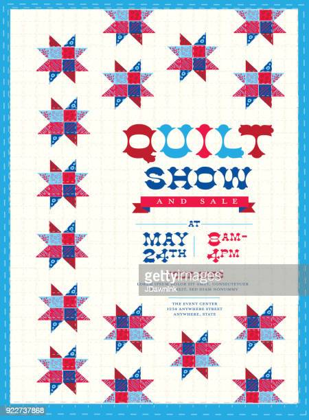 quilt show and sale poster advertisement design template - quilt stock illustrations, clip art, cartoons, & icons