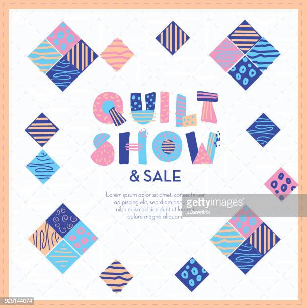 quilt show and sale poster design template with hand lettering - quilt stock illustrations, clip art, cartoons, & icons