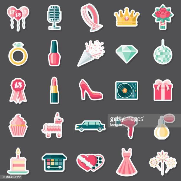 quinceañera sticker set - femininity stock illustrations