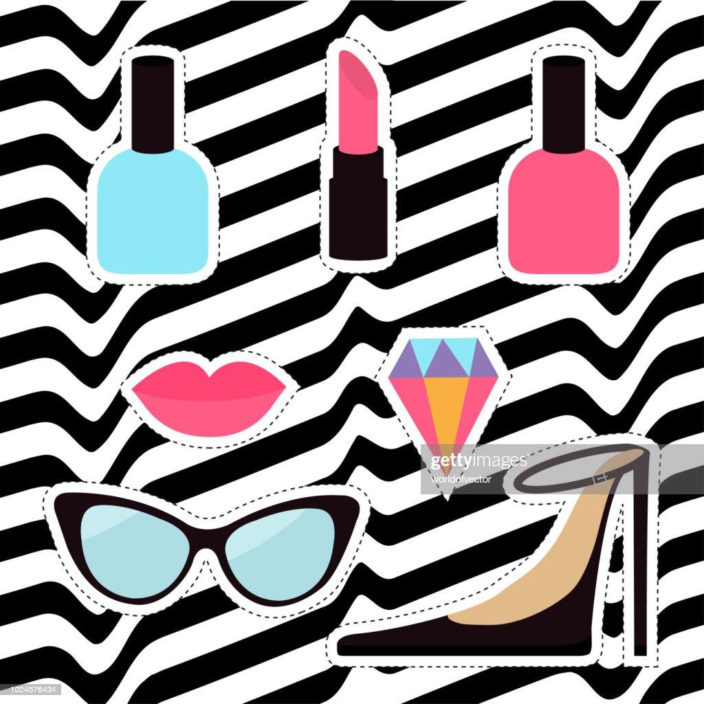 Quirky cartoon sticker patch badge set. Woman Fashion pin. Lipstick, diamond gem, shoes, lips, sunglasses, eye glasses, nail polish White black wave abstract line optical background Flat design