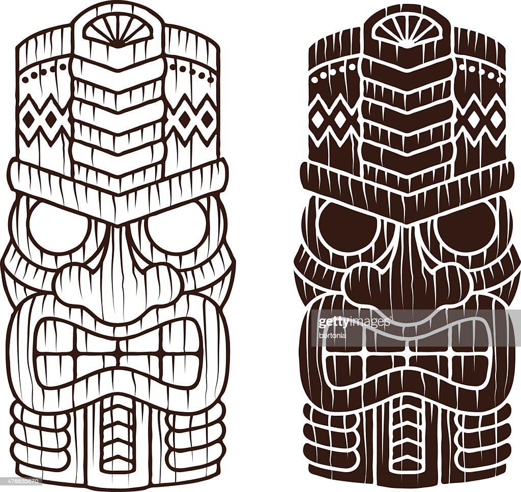 Quirky Retro Tiki Mask Line Art Icon Set