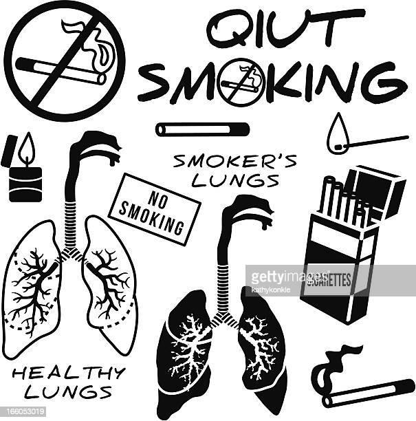 quit smoking design elements - quitting smoking stock illustrations, clip art, cartoons, & icons