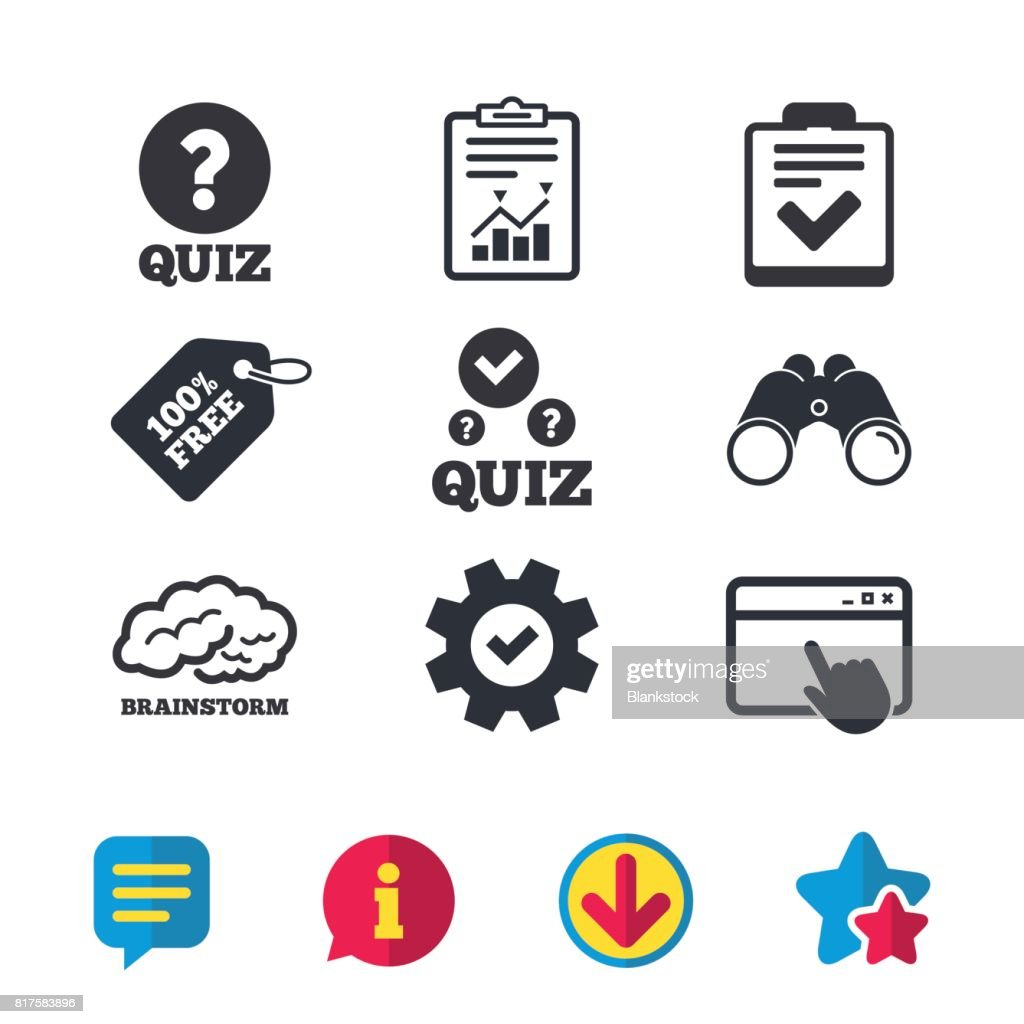 Quiz icons. Checklist and human brain symbols.