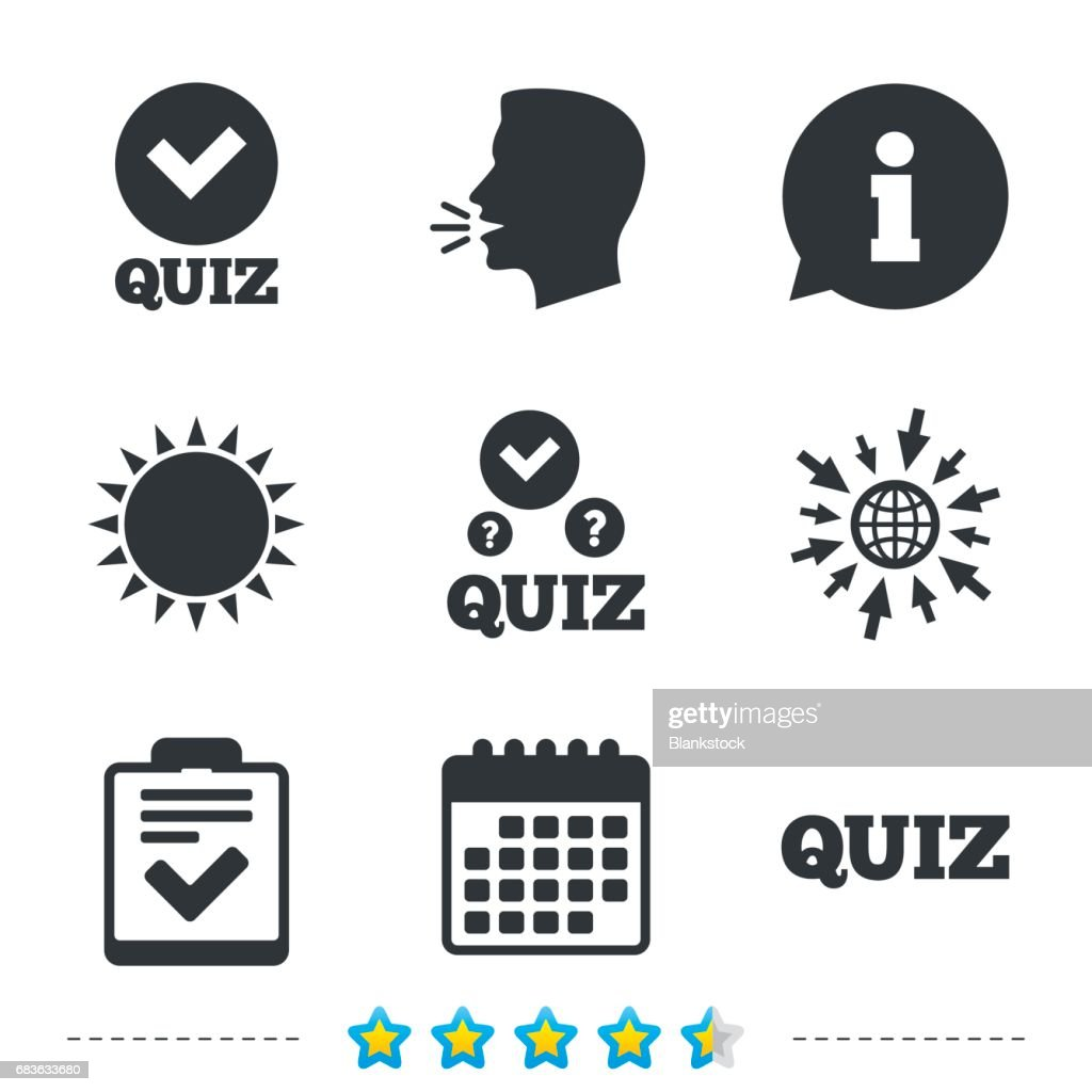Quiz Icons Checklist With Check Mark Symbol Vector Art Getty Images