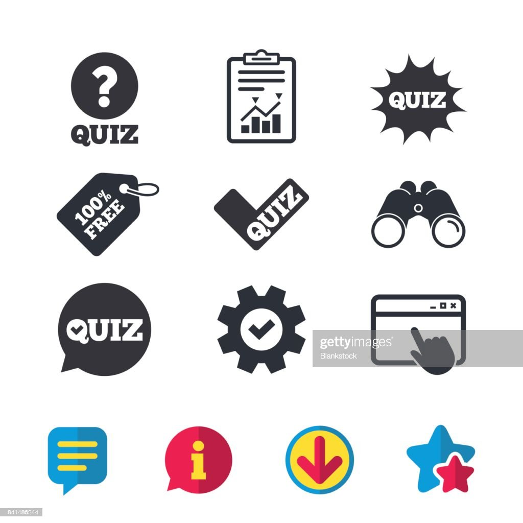 Quiz icons. Speech bubble with check mark symbol.