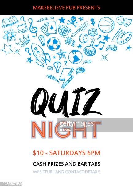 quiz night poster - flyer leaflet stock illustrations