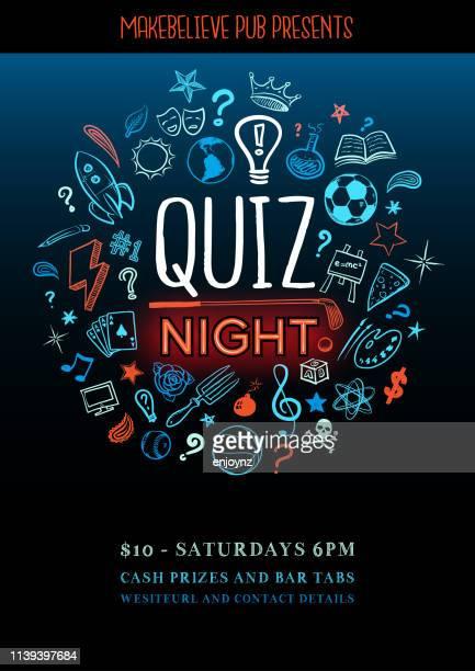 quiz-nachtposter - wettbewerb unterhaltungsveranstaltung stock-grafiken, -clipart, -cartoons und -symbole