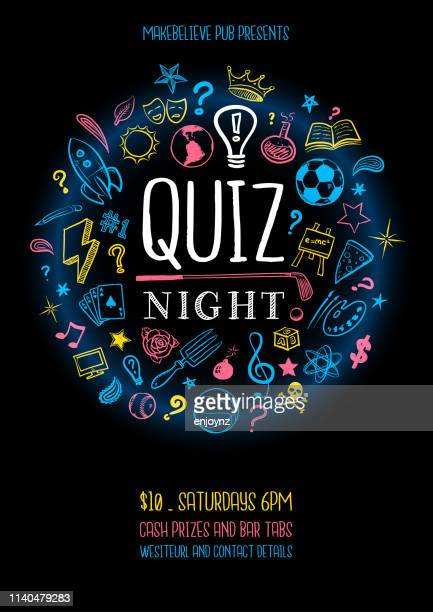 quiz night poster - competition stock illustrations