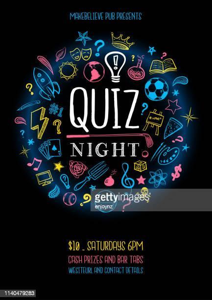 illustrazioni stock, clip art, cartoni animati e icone di tendenza di poster notturno quiz - competizione