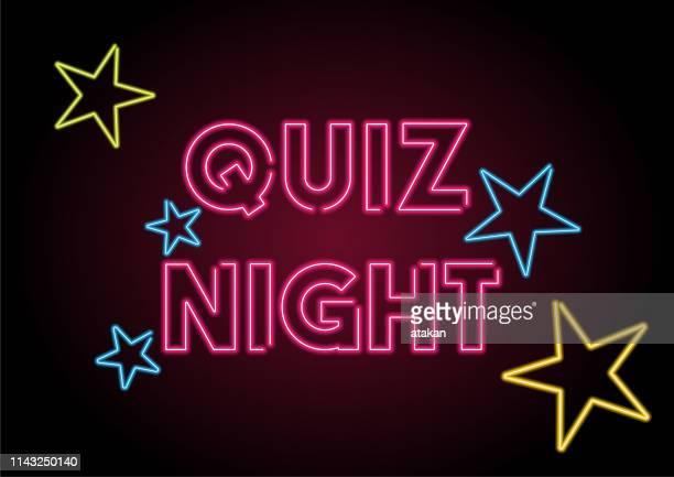 stockillustraties, clipart, cartoons en iconen met quiz nacht rood neon licht op zwarte muur - fluorescerende