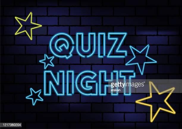 illustrazioni stock, clip art, cartoni animati e icone di tendenza di quiz night sign blue neon light on dark brick wall - competizione
