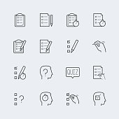 Quiz related vector icon set in outline style