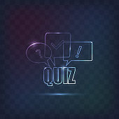 Quiz sign decorated in line neon style