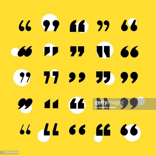 quotation mark icon set. yellow background. - speech bubble stock illustrations