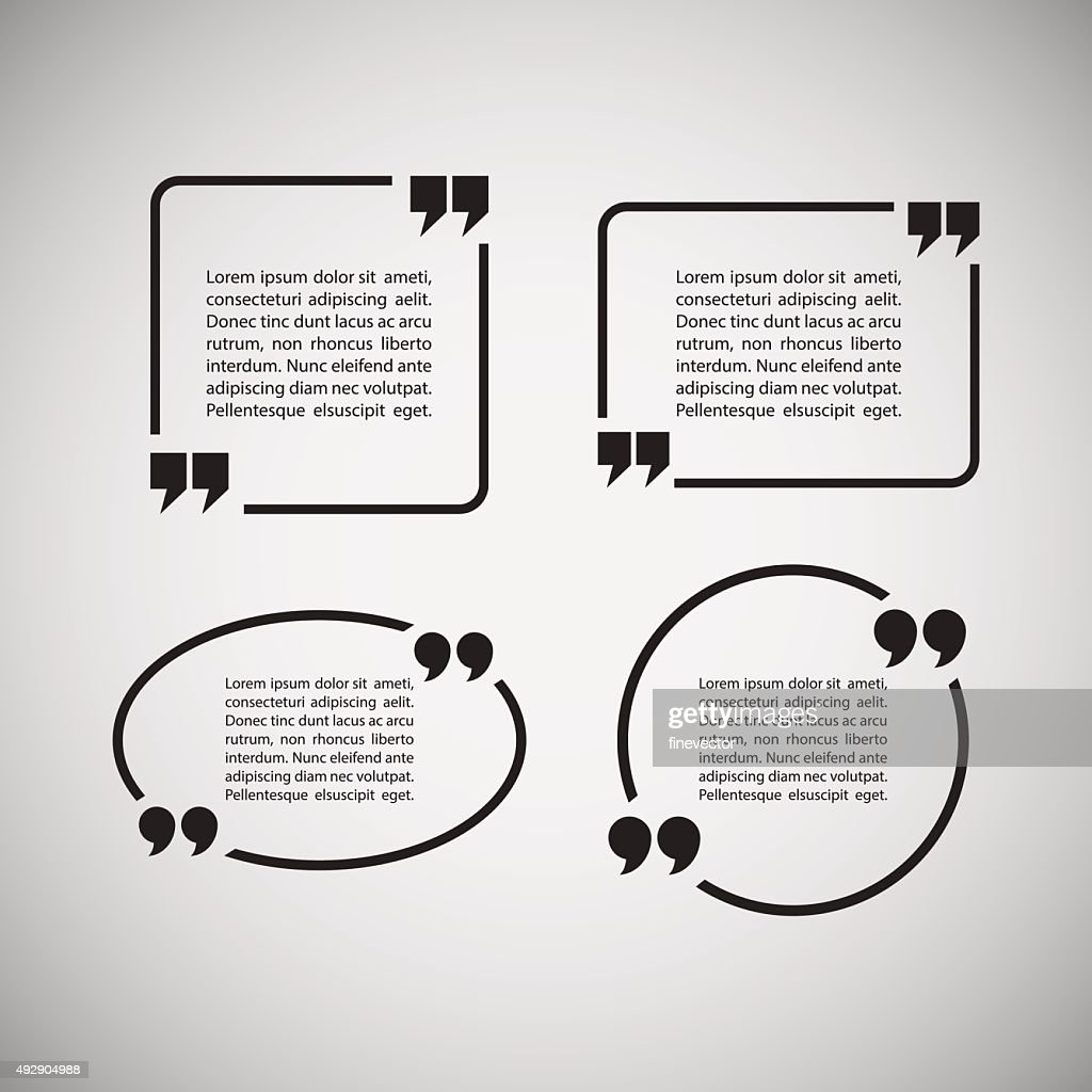 Quotation Mark Speech Bubbles on gray background.