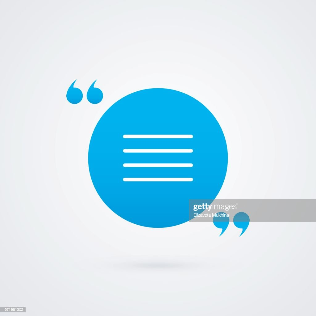 Quotation Mark Symbol Vector Blue And White Icon Isolated On Grey