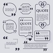 Quote blank template. Design elements, circle business card, pap
