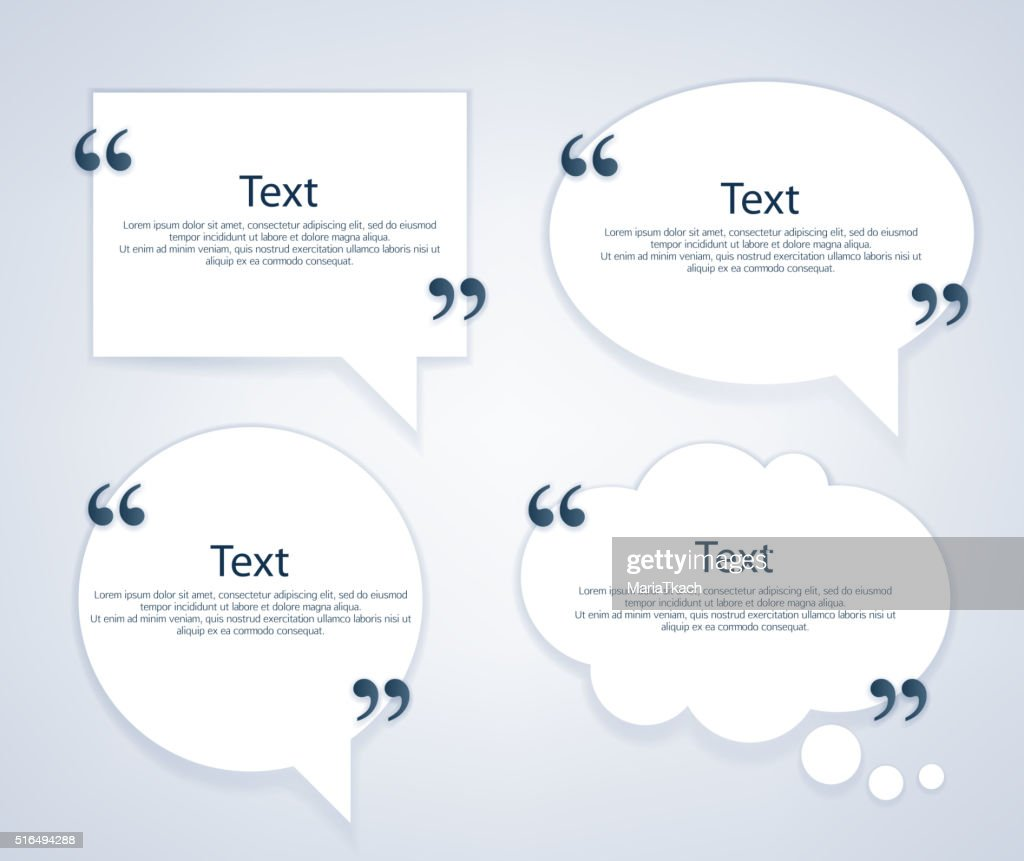 Quote bubble frames templates set
