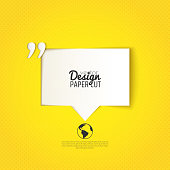 Quote bubble with quotation mark on yellow background. Vector design