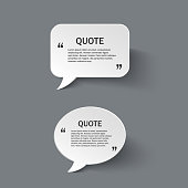 Quote form on paper speech bubbles