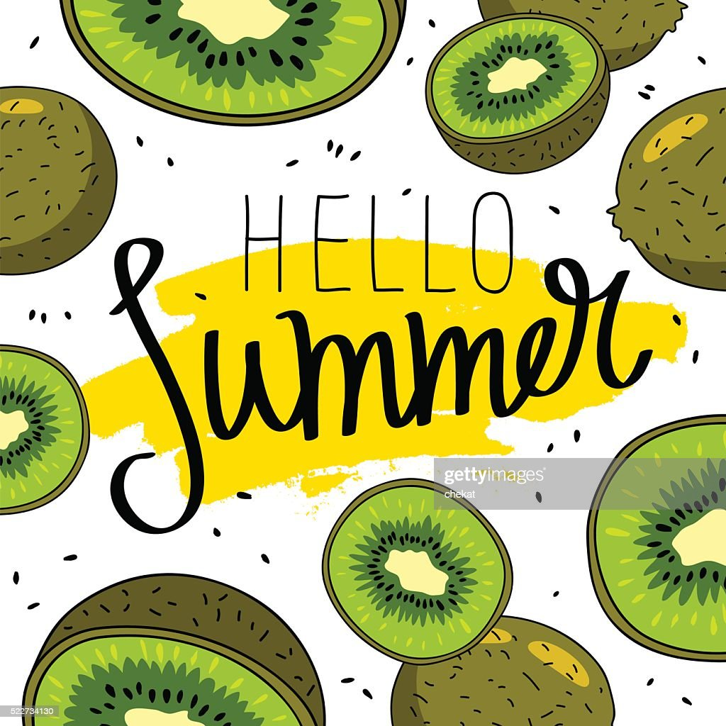 Quote Hello Summer. Fashionable calligraphy