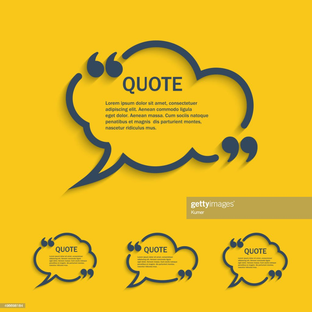 Quote line cloud speech bubbles set