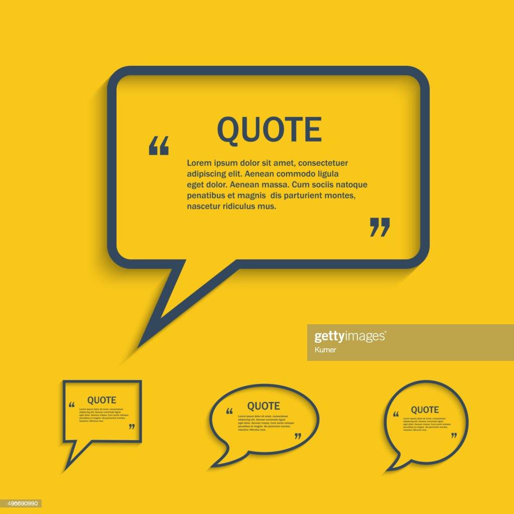 Quote line speech bubble set