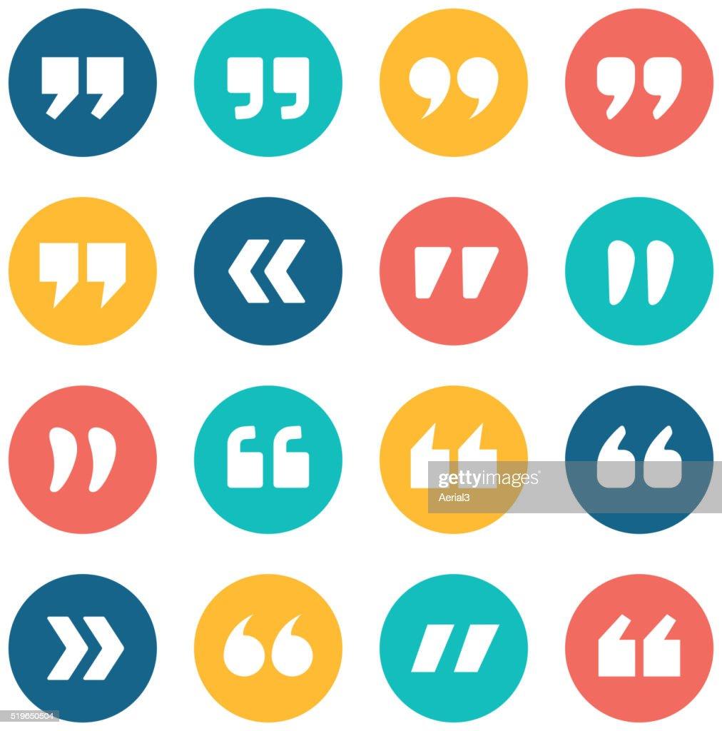 Quote marks flat circle icons set