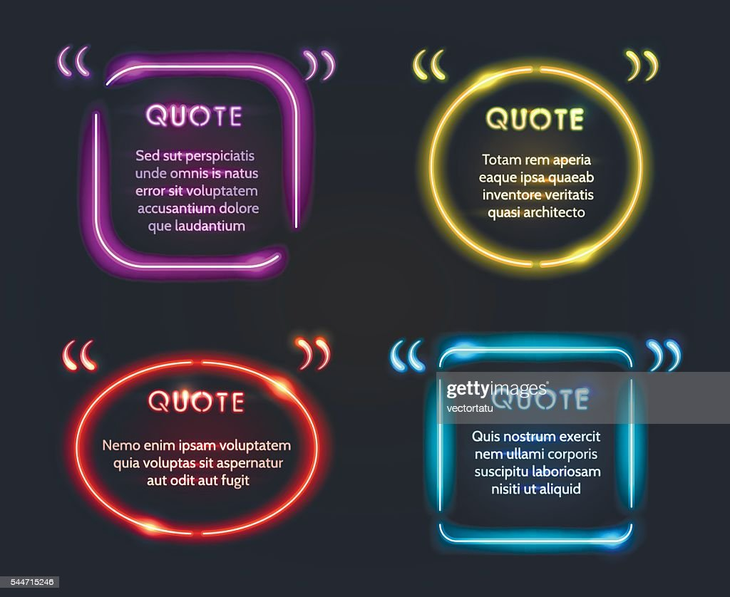 Quote neon frame set vector