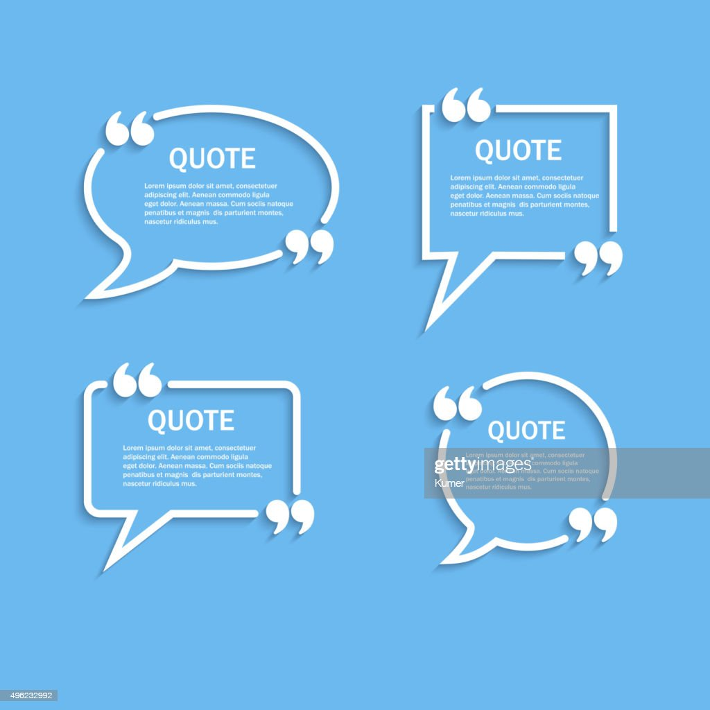 Quote outline speech bubble set