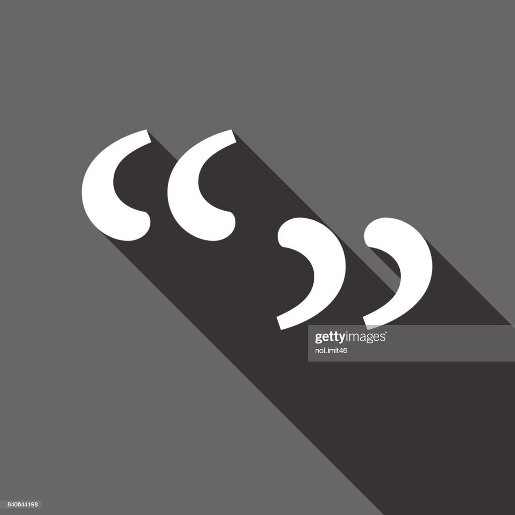 Quote sign icon. Quotation mark symbol. Double quotes at the beginning of words. Vector illustration