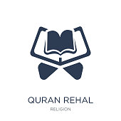 Quran rehal icon. Trendy flat vector Quran rehal icon on white background from Religion collection