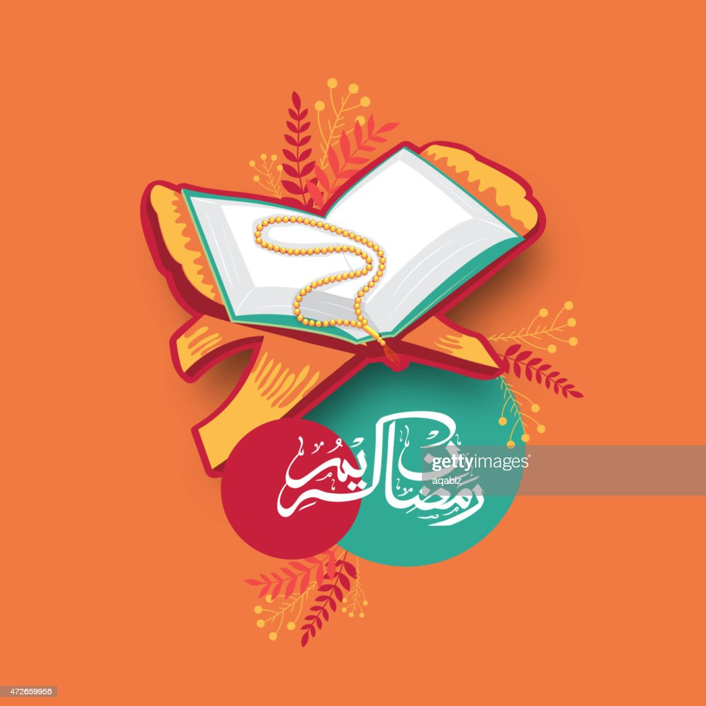 Quran Shareef with arabic text for Ramadan Kareem celebration.