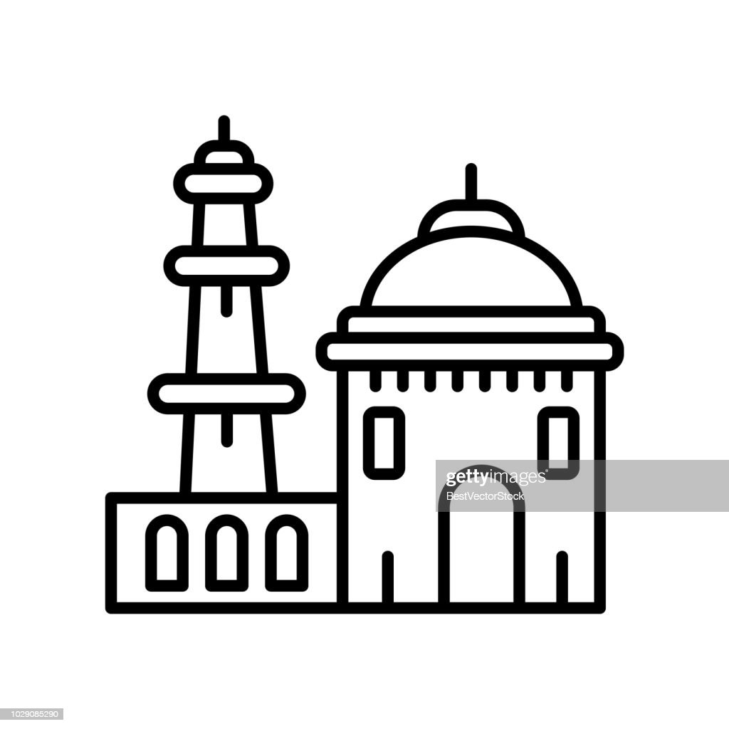 Qutb Minar in New Delhi icon vector isolated on white background, Qutb Minar in New Delhi sign , line or linear sign, element design in outline style