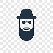 Rabbi vector icon isolated on transparent background, Rabbi transparency logo design
