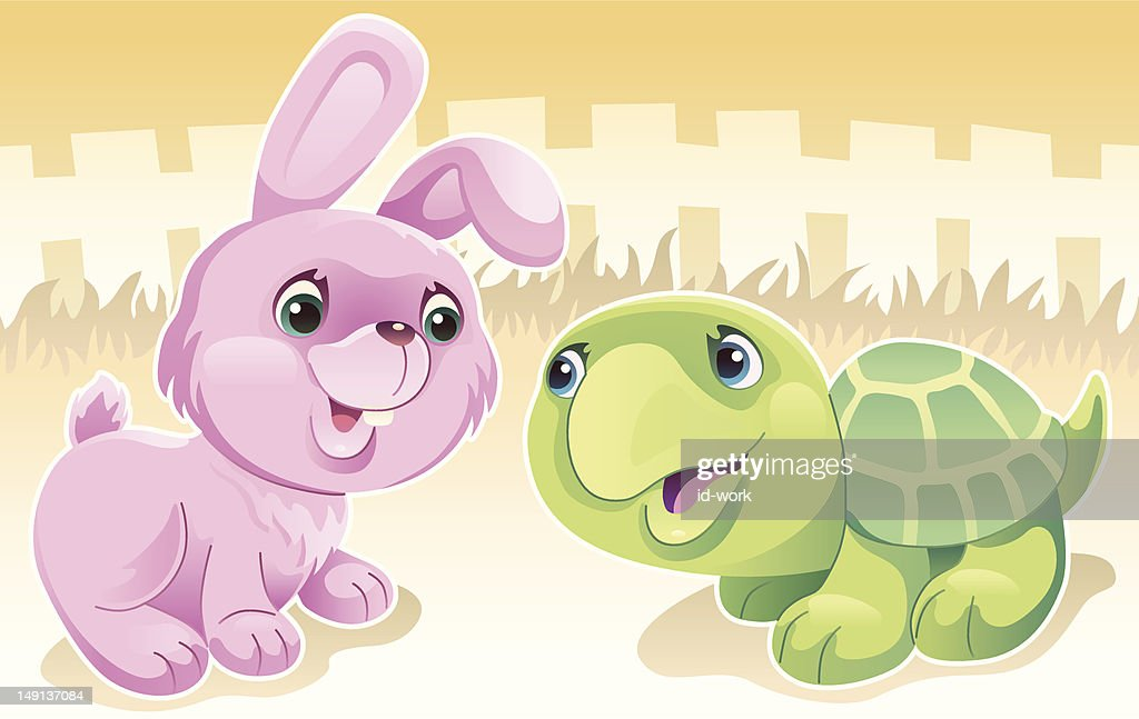 rabbit and tortoise : Stock Illustration
