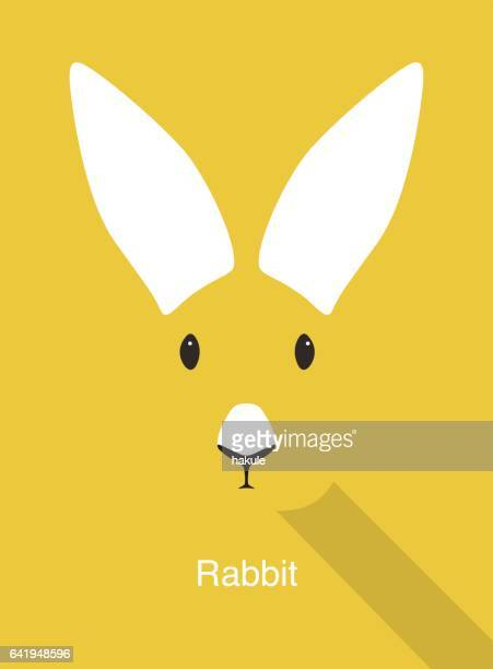 Konijn cartoon gezicht, plat dierlijke gezicht pictogram vector
