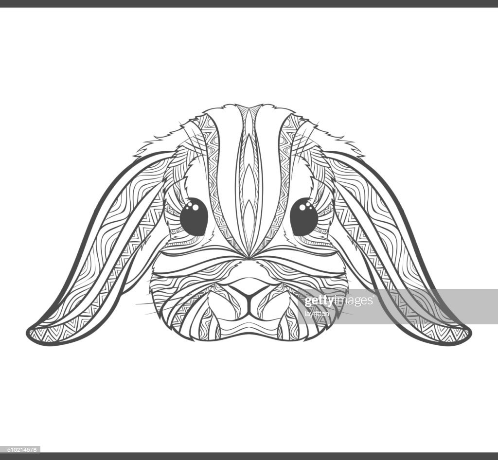 Rabbit coloring outlines in boho style. Ethnic hare