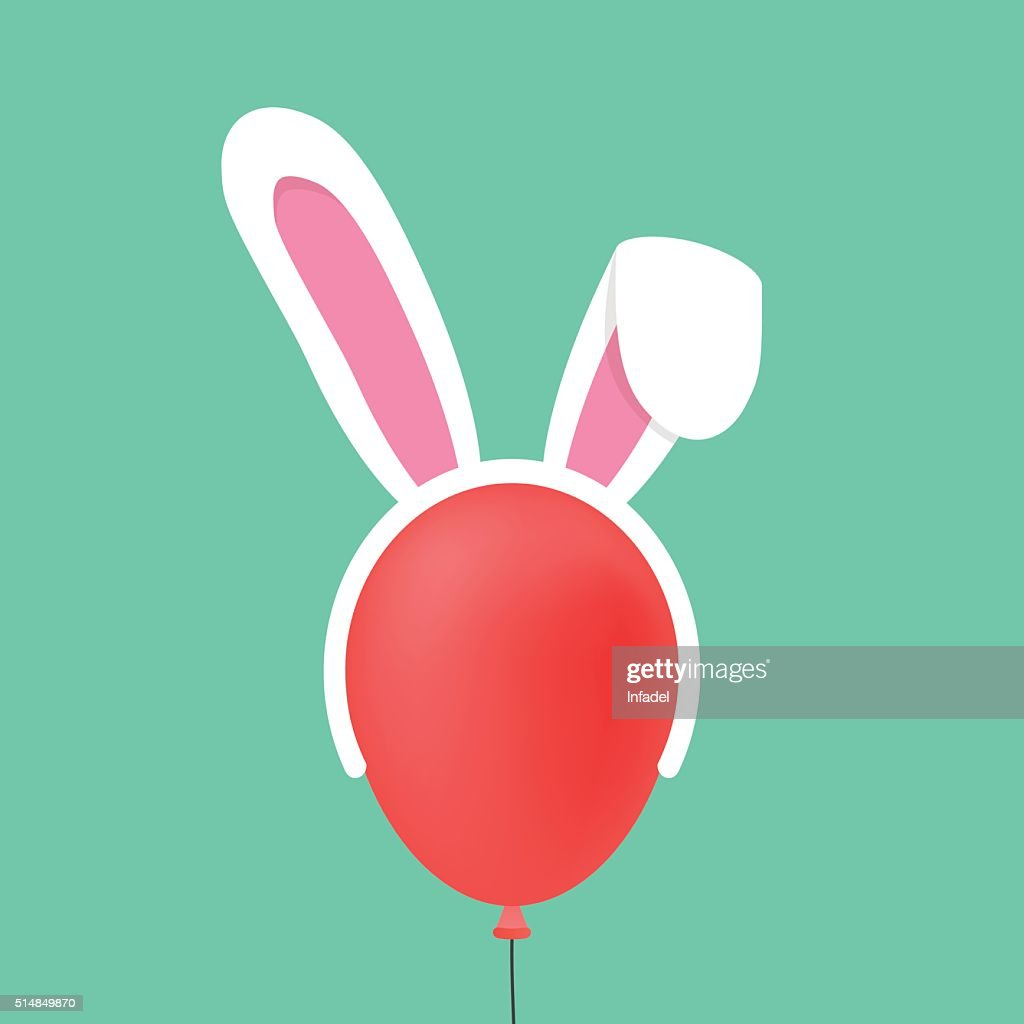 rabbit ears mask on red baloon