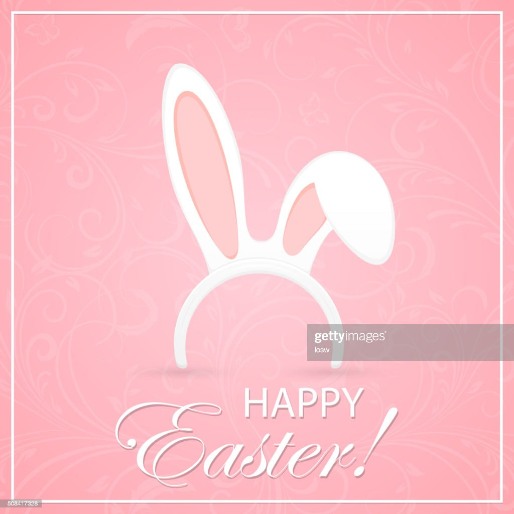 Rabbit ears on pink Easter background