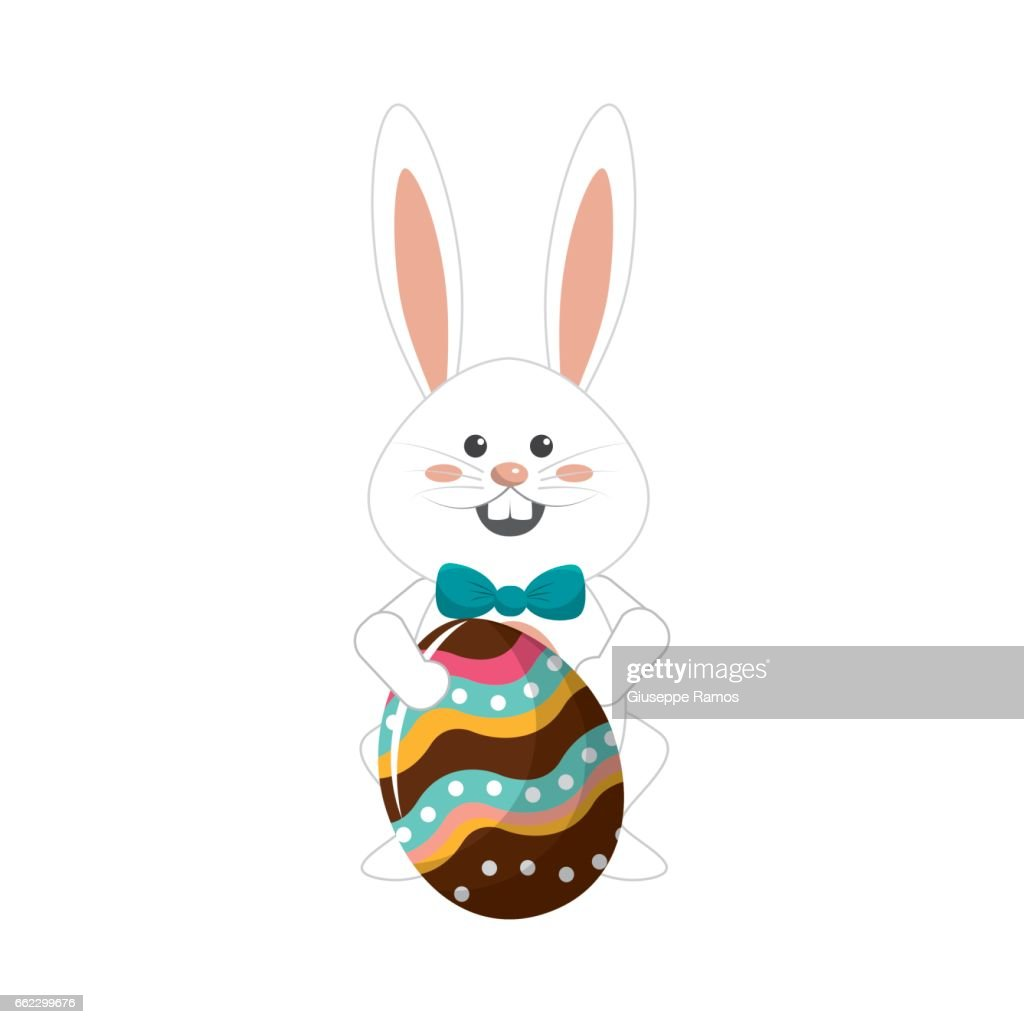 rabbit easter with decorated egg in the hands