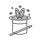Rabbit in hat and magic wand icon