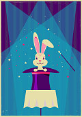 Rabbit in magical hat.Vector magic show background