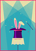 Rabbit in magical hat.Vector old poster of magic show