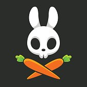 Rabbit skull with carrots